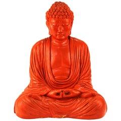 Midcentury Style Painted Plaster Seated Buddha