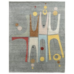 Rug & Kilim's Midcentury Style Rug in Gray/Multi-Color Atomic Age Pattern