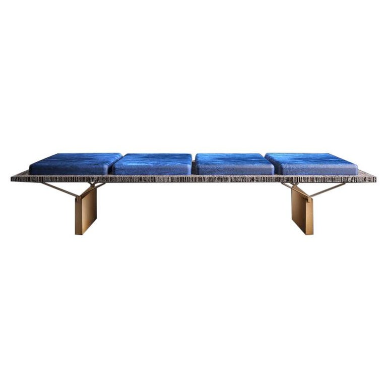 Midcentury Style, Stamford Bench, in Raw Wood and Soft Suede, Made in Italy For Sale