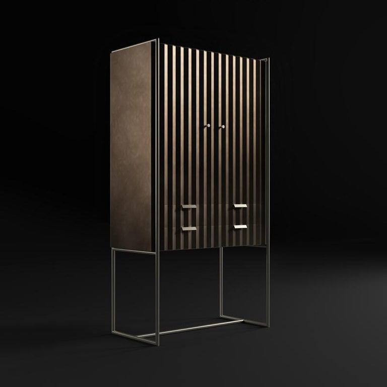Italian Midcentury Style, Taylor Cabinet, a Metal and Bronze Cabinet, Made in Italy For Sale