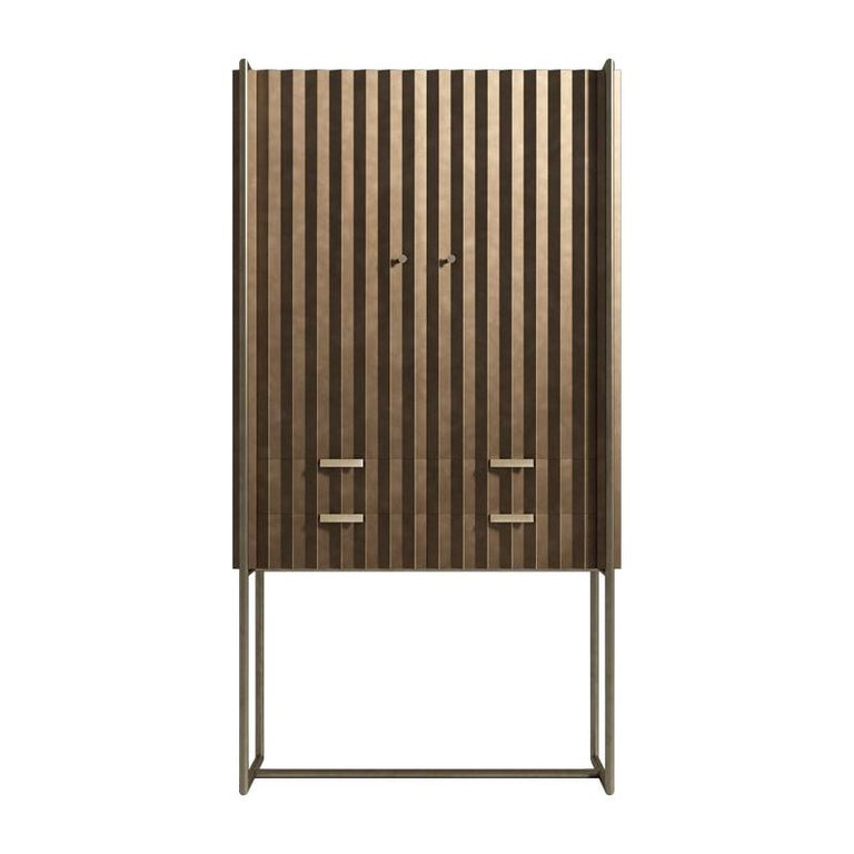 Midcentury Style, Taylor Cabinet, a Metal and Bronze Cabinet, Made in Italy For Sale