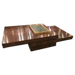 Midcentury Style Three-Tiered Dark Satin Burl Wood Coffee Table