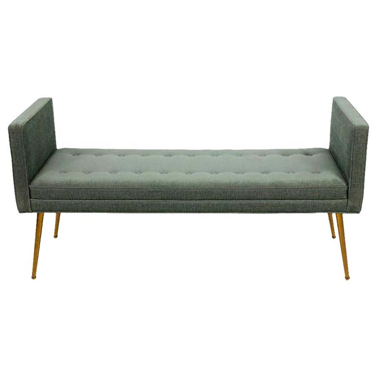 Midcentury Style Upholstered Armed Bench For Sale