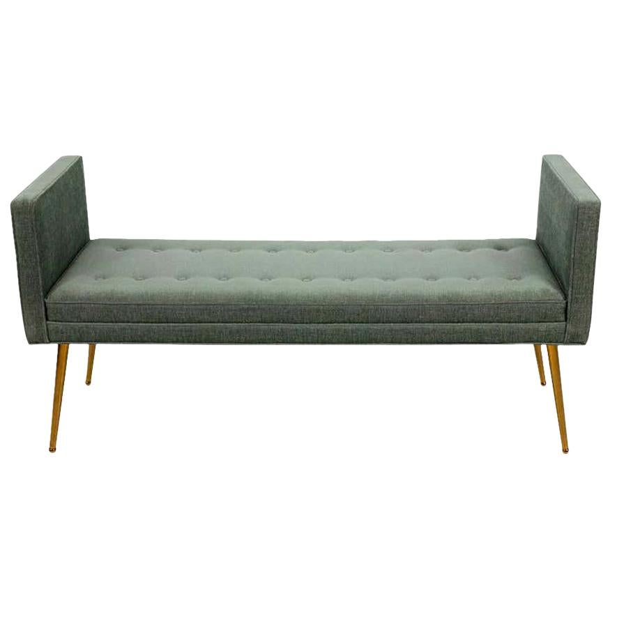 Midcentury Style Upholstered Armed Bench