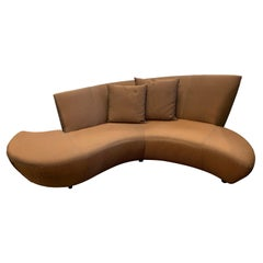 Midcentury Style Vladimir Kagan Bilbao Serpentine Curved Sofa Iridescent Fabric