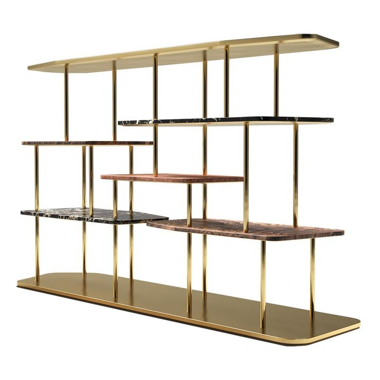 Midcentury Style, Waldorf Bookcase, in Brass, Marble, Briar Wood, Made in Italy In New Condition For Sale In Casalserugo, IT