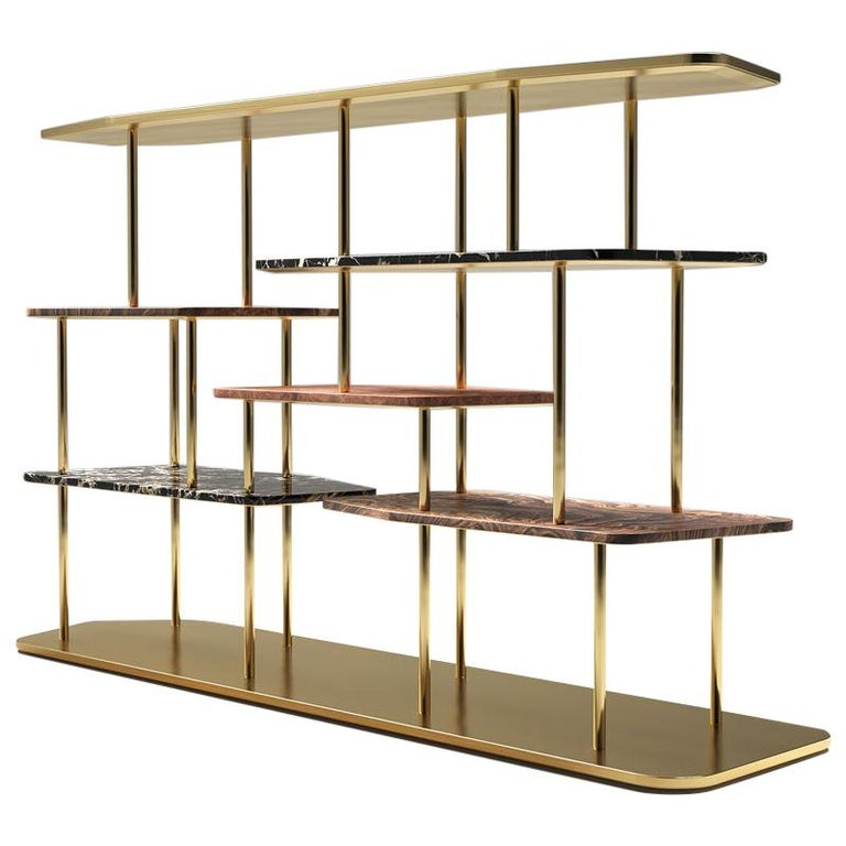 Midcentury Style, Waldorf Bookcase, in Brass, Marble, Briar Wood, Made in Italy For Sale