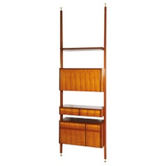 Midcentury Style Wall Unit in Maple and Brass by Vittorio Dassi, 1950