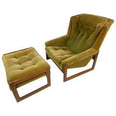 Midcentury Stylish DUX Lounge Chair and Ottoman Attributed Folke Ohlsson, a Pair