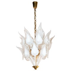 Midcentury Stylized Cala Lily Chandelier in Brass and Hand Blown Murano Glass