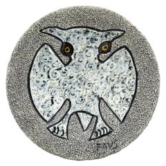 Midcentury Stylized Owl Pottery Lava Glazed Wall Plaque Signed FAVS
