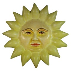 Midcentury Sun Papier Mâché Wall Sculpture