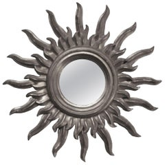 Midcentury Sun Silver Wood French Mirror, 1960