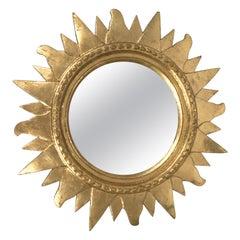Midcentury Sunburst Gilded Plastic Round Italian Wall Mirror, 1970s