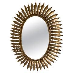 Midcentury Sunburst Gilt Metal Oval Mirror