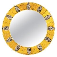 Midcentury Sunburst Glass Mosaic Round Mirror
