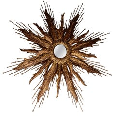 Midcentury Sunburst Handcrafted Art Metal Mirror