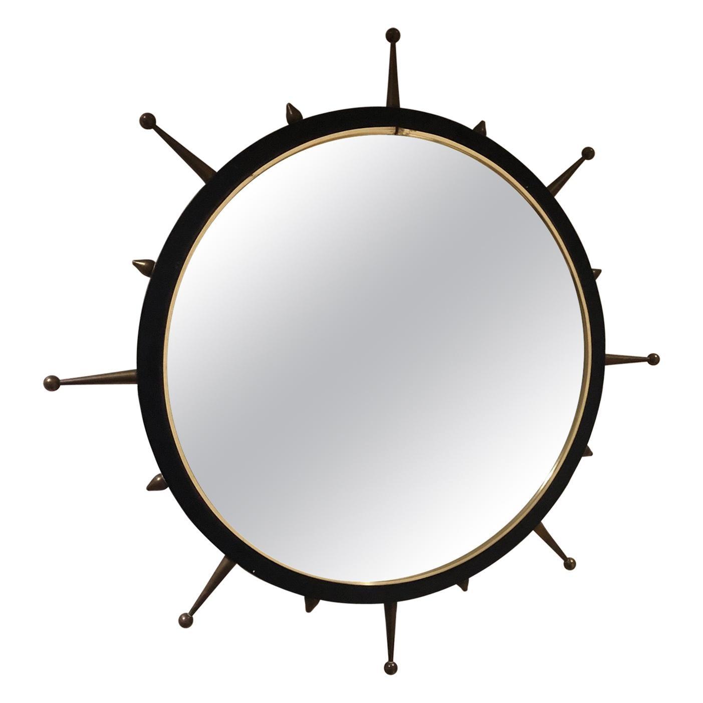 Midcentury Sunburst Mirror with Spikes