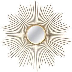 Sonnenstrahlen-Spiegel mit vergoldeten Stangen, Midcentury