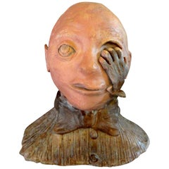 Midcentury Surrealist Terracotta Bust Sculpture