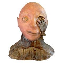 Midcentury Surrealist Terracotta Bust Sculpture