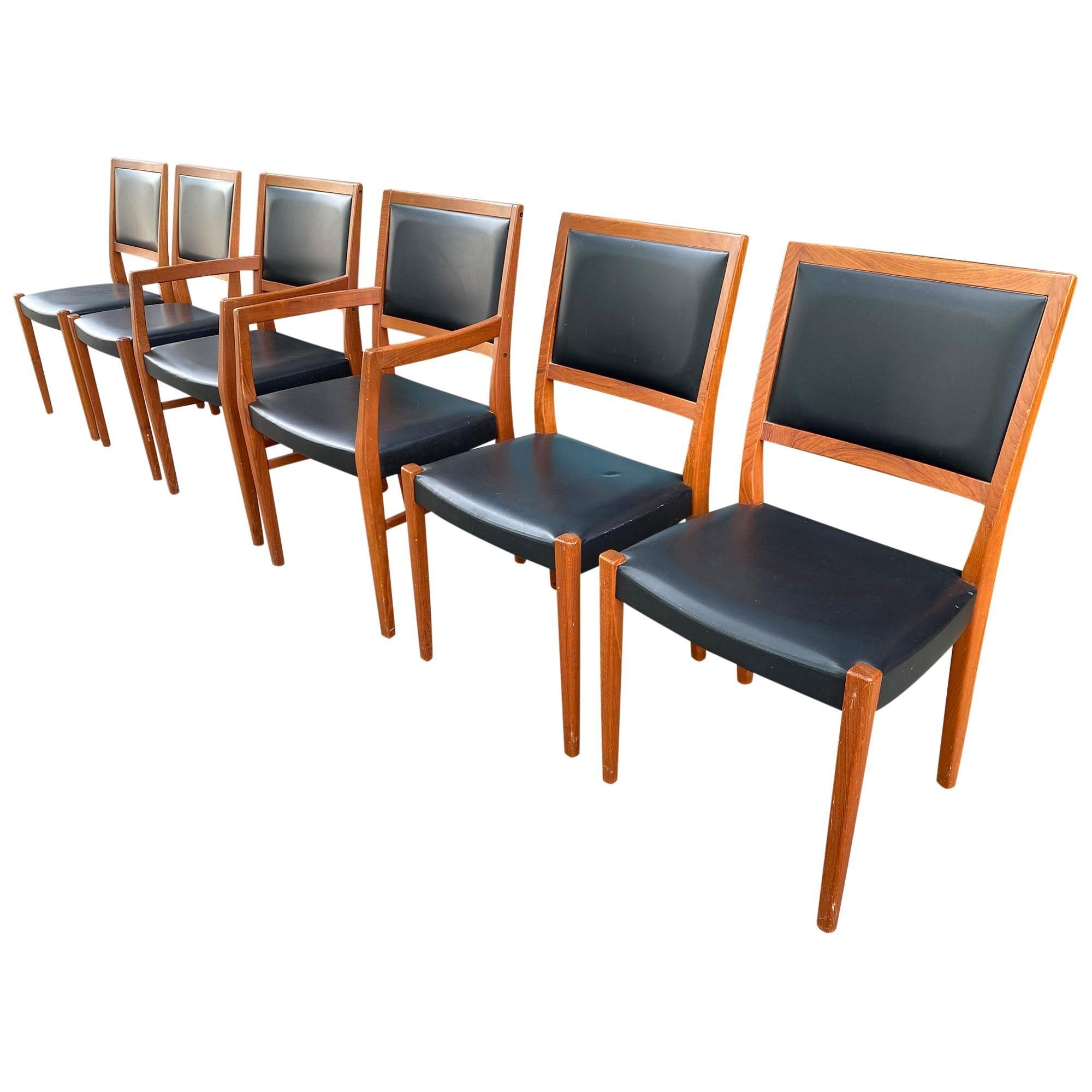 Midcentury Svegards Markaryd 6 Teak Dining Chairs Made in Sweden Black Vinyl