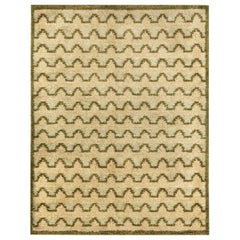 Midcentury Swedish Beige and Green Wool Rug by Sigvard Bernadotte