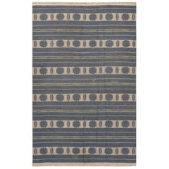 Midcentury Swedish Beige, Blue and Green Double Sided Flat-Woven Wool Rug