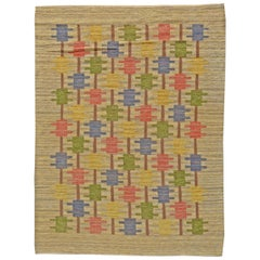 Midcentury Swedish Beige, Blue, Green, Red and Gray Flat-Woven Wool Rug