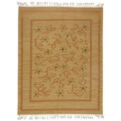 Midcentury Swedish Beige, Brownish-Orange and Green Flat-Weave Wool Rug
