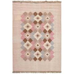 Midcentury Swedish Beige, Pink, Brown and Gray Flat-Weave Wool Rug