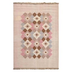Midcentury Swedish Beige, Pink, Brown and Gray Flat-Weave Wool Rug