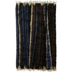 Midcentury Swedish Black, Navy Blue, Green & Cream Striped Rug by Ingrid Dessau