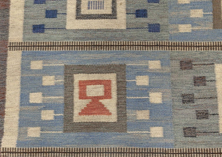 Midcentury Swedish blue flat-woven wool rug by Edna Martin