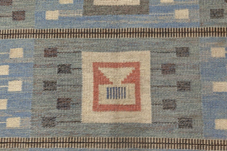 Mid-Century Modern Midcentury Swedish Blue Flat-Woven Wool Rug by Edna Martin For Sale