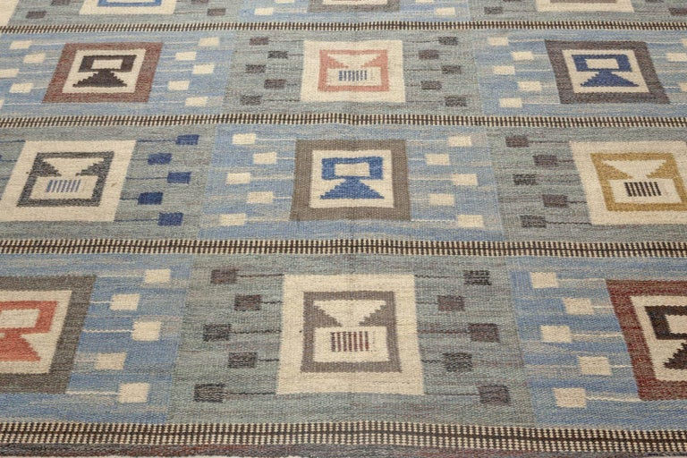 Midcentury Swedish Blue Flat-Woven Wool Rug by Edna Martin In Good Condition For Sale In New York, NY