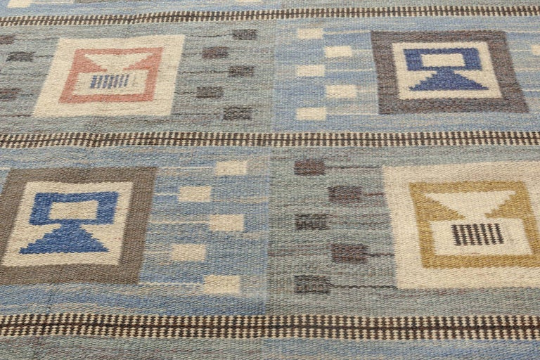20th Century Midcentury Swedish Blue Flat-Woven Wool Rug by Edna Martin For Sale