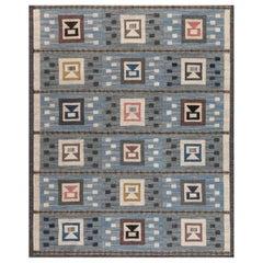Midcentury Swedish Blue Flat-Woven Wool Rug by Edna Martin