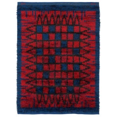"Midcentury Swedish Blue and Red Pile Rya Rug Signed ""KH GR"""