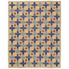 Midcentury Swedish Blue, Red, Yellow and Beige Flat-Woven Wool Rug