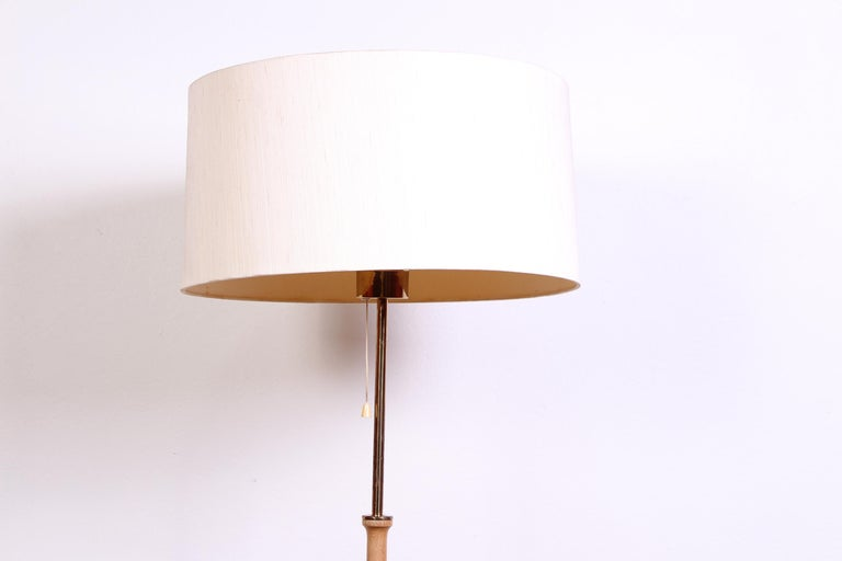 Midcentury Swedish Brass and Teak Floor Lamp by Bergboms, 1950s In Good Condition In Malmo, SE