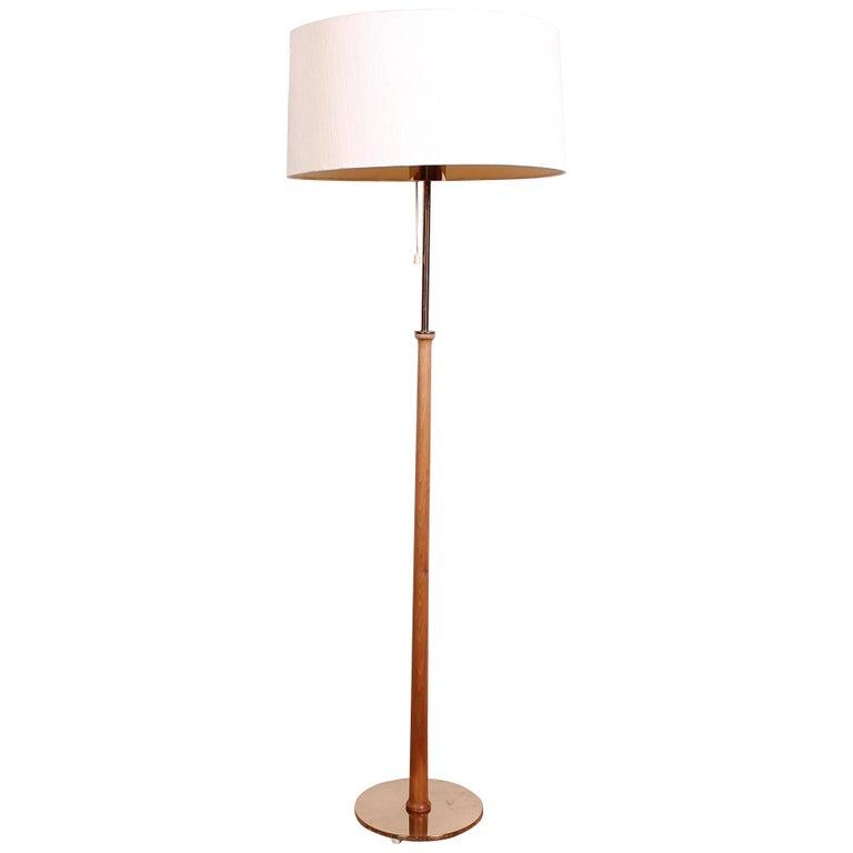 Midcentury Swedish Brass and Teak Floor Lamp by Bergboms, 1950s