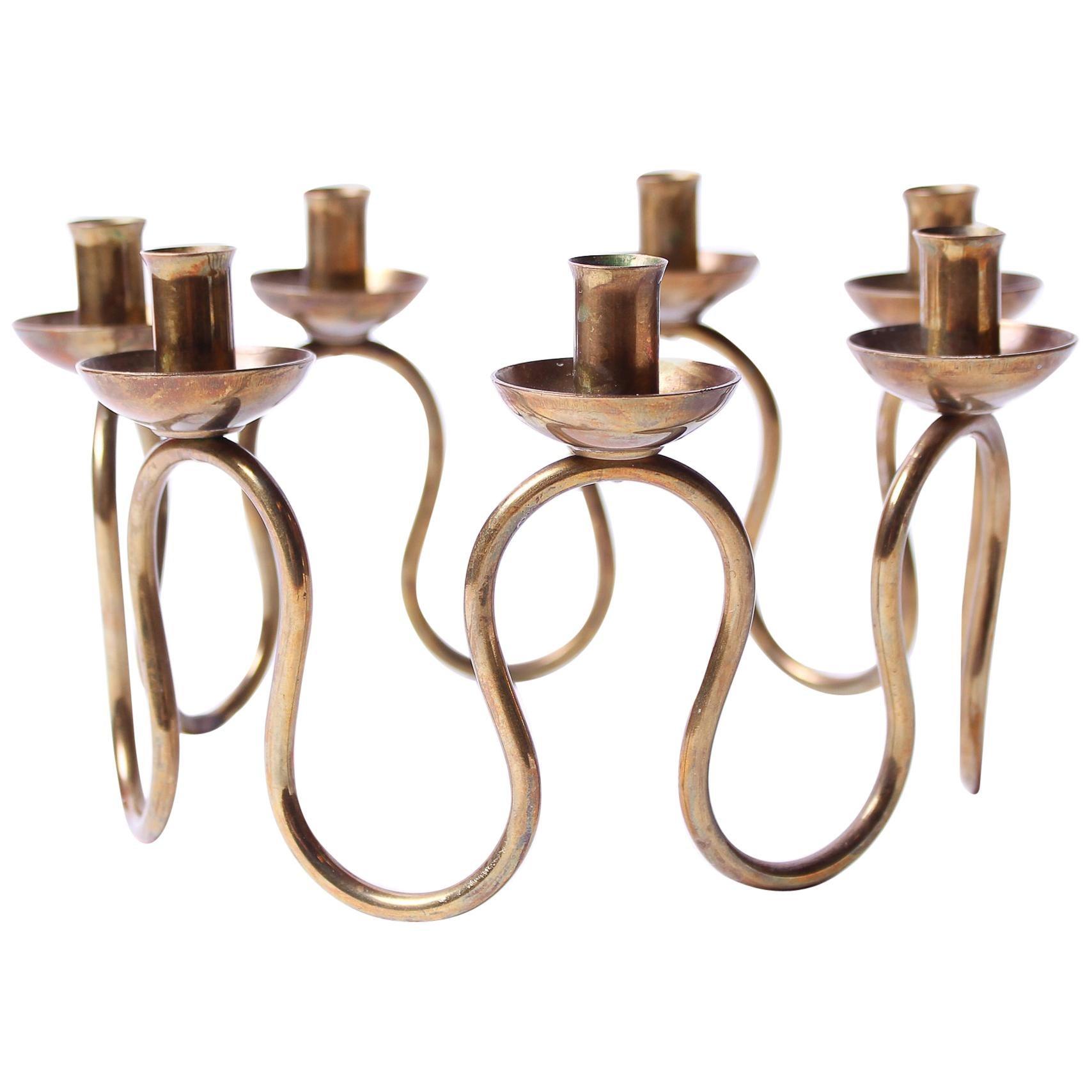 Midcentury Swedish Brass Candlestick by Lars Holmström, 1950s