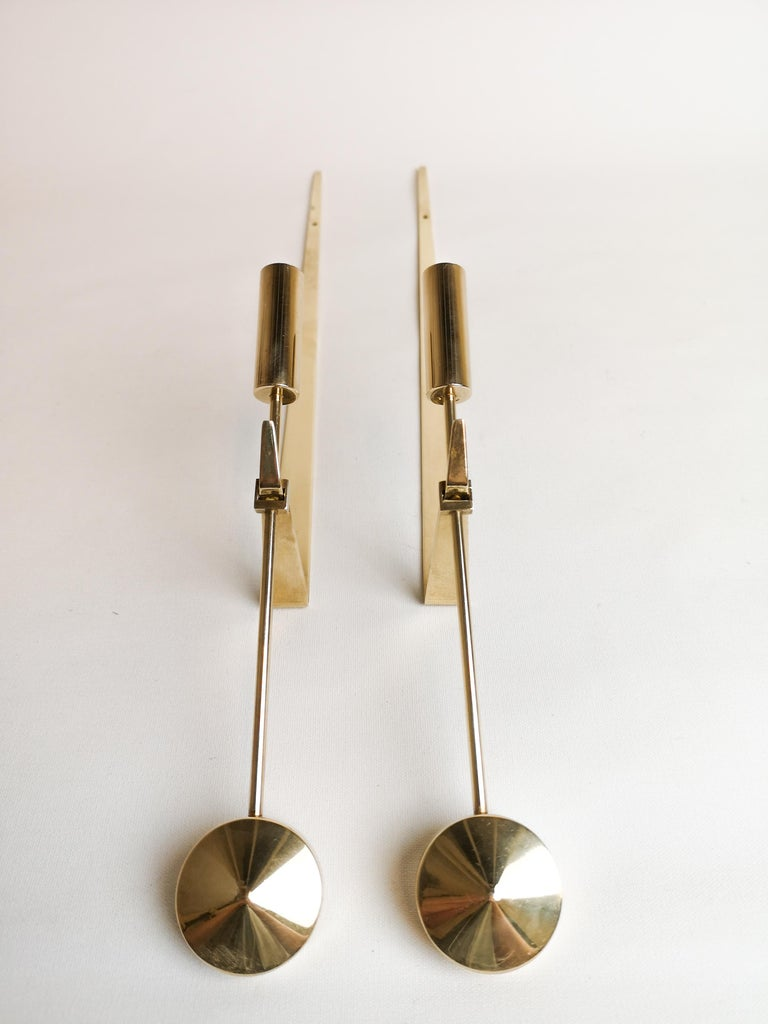 Midcentury Swedish Brass Pendel Candlesticks by Pierre Forsell For Sale 1