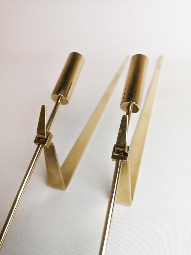 Midcentury Swedish Brass Pendel Candlesticks by Pierre Forsell For Sale 2