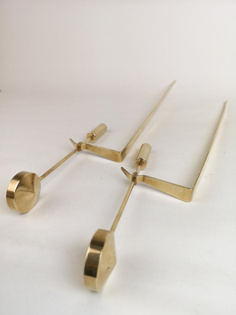 Midcentury Swedish Brass Pendel Candlesticks by Pierre Forsell For Sale 4