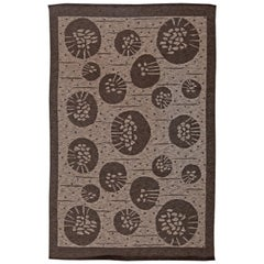 Midcentury Swedish Brown Double Sided Flat-Weave Wool Rug by Orsa