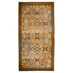 Midcentury Swedish Brown Flat-Weave Rug Signed by Ingrid Silow