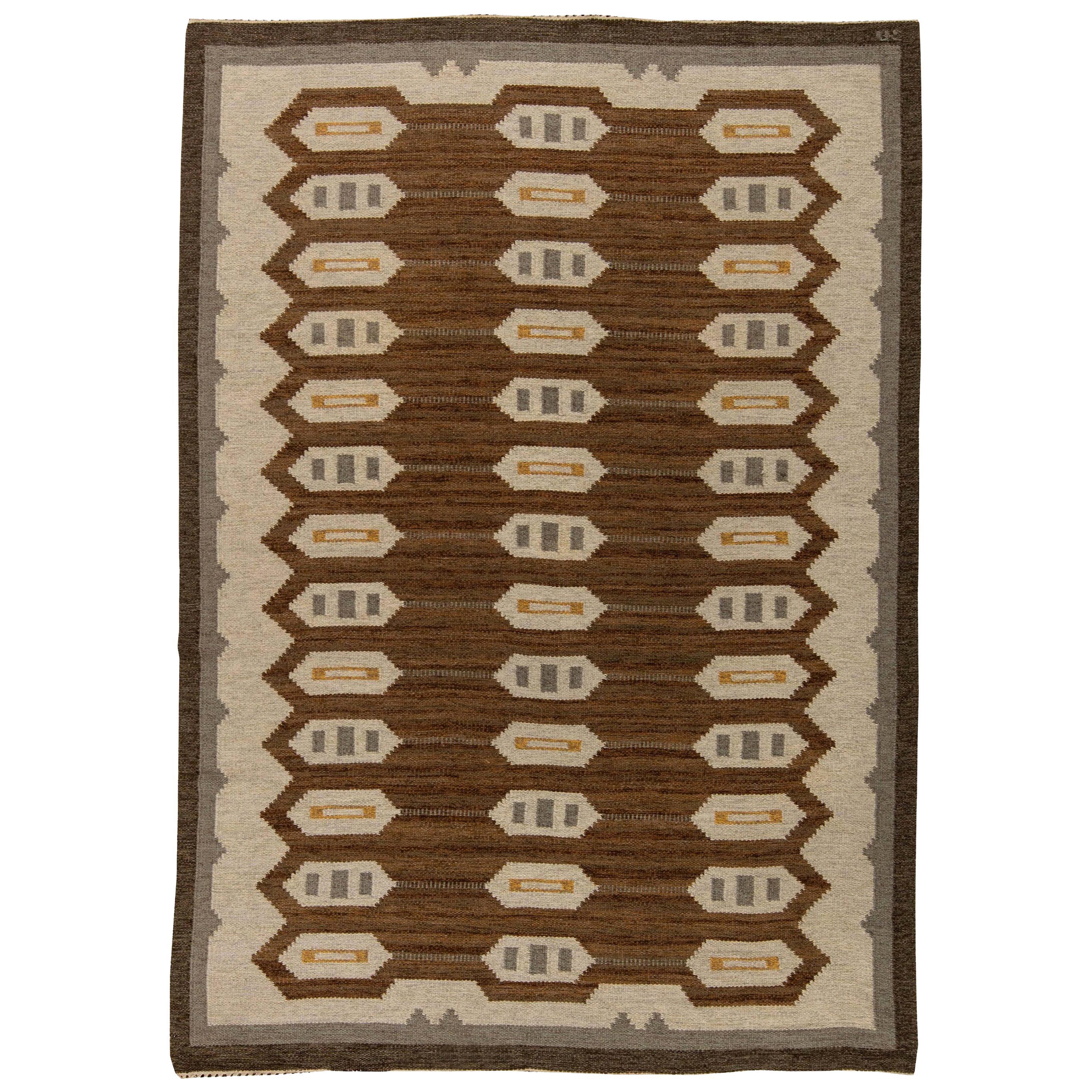 Midcentury Swedish Brown, Gray and Beige Flat-Woven Wool Rug
