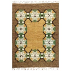 Midcentury Swedish Brown, Gray, Green and Yellow Flat-Weave Wool Rug Signed 'W'